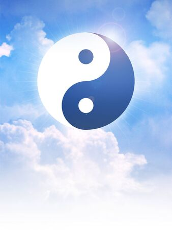 taoism: Yin and Yang symbol of Taoism on clouds