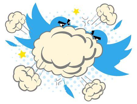 Ilustración de la historieta de dos pájaros azules que luchan