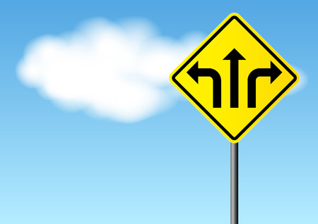 clouds making: Yellow street sign with direction arrows on bright sky background, for decision making concept