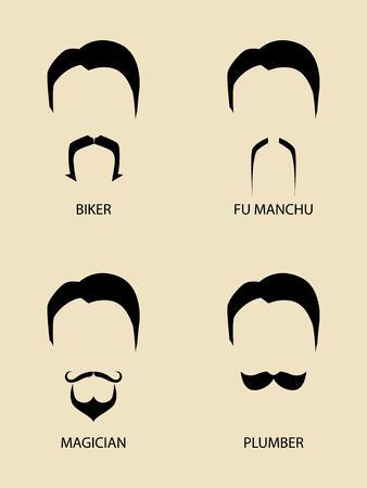 facial hair: Simple graphic of men facial hair types Illustration
