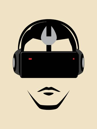 face with headset: Graphic illustration of a man wearing a virtual reality goggles