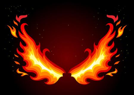 soar: Flat vector illustration of fire wings on dark background