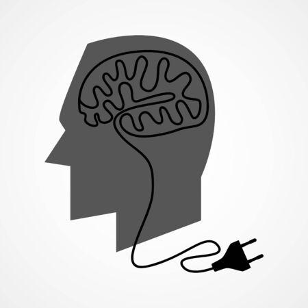 enchufe: Ilustración gráfica de una cabeza humana con el cable de alimentación desenchufe el que la formación de un cerebro humano