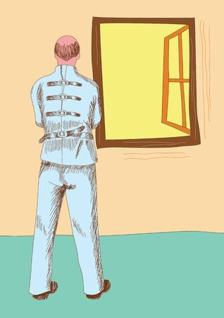 Grafische illustratie van de geesteszieke man met dwangbuis naar buiten door het raam Vector Illustratie
