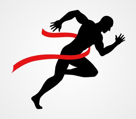 Silhouette Darstellung eines Sprinters auf Ziellinie