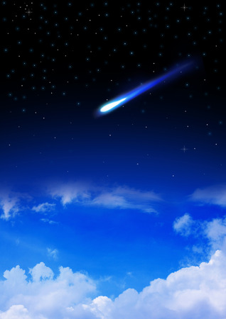 enters: Meteor enters the Earths atmosphere on the starry night sky Stock Photo