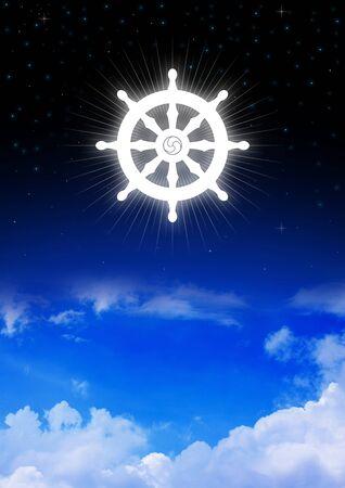 buddhist's: Dharma Wheel of Buddhism symbol on night sky