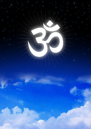 aum: Aum or Om symbol of Hinduism on night sky Stock Photo