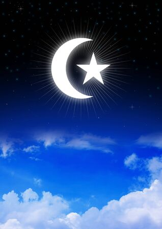 crescent: Star and Crescent Moon, symbol of Islam on night sky