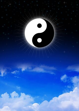 taoism: Yin and Yang symbol of Taoism on night sky