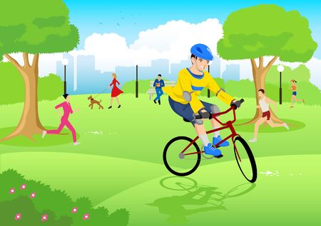 fields  grass: Cartoon illustration of a boy riding bicycle at city park
