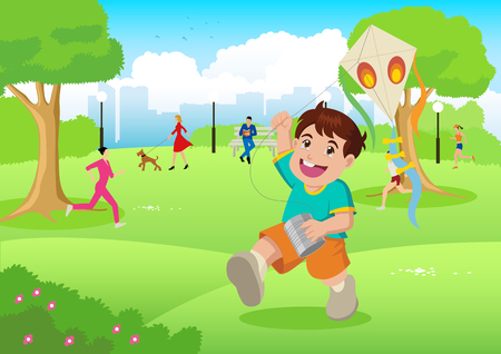 joggers: Cartoon illustration of a boy playing a kite at city park Illustration