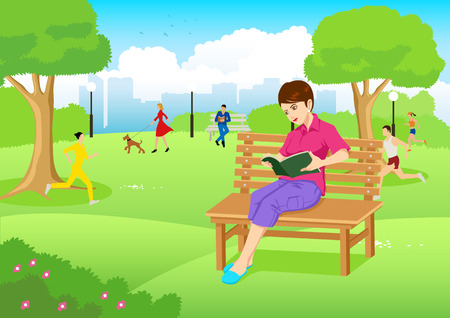 garden bench: Cartoon illustration of a young woman reading a book on a bench at city park Illustration