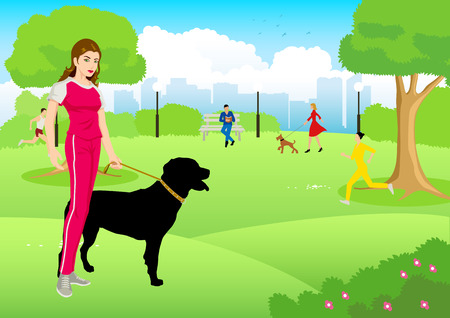 lifestyle: Cartoon illustration of a woman in jogging suit with her dog at city park Illustration