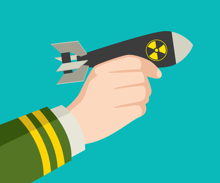 nuclear weapons: Graphic illustration of a hand in military uniform holding an atomic bomb, war, invasion, conflict concept