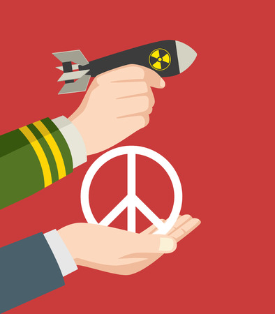 destructive: Illustration of a man hand in military uniform holding a nuclear bomb and a hand holding a peace symbol, offering, war and peace symbol