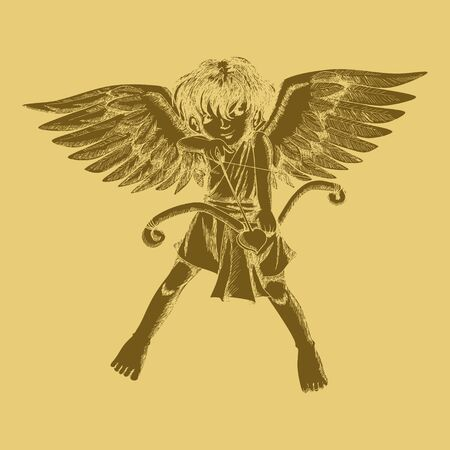 valentine cherub: Carved style illustration of a cupid