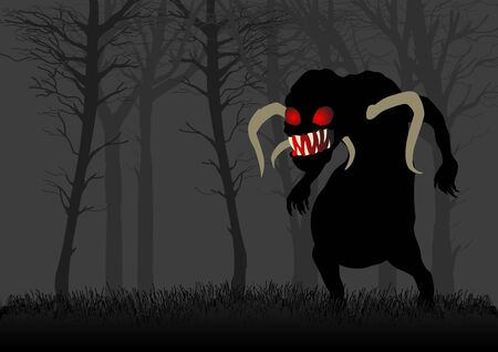 dark woods: Silhouette illustration of a scary monster with red eyes in dark woods