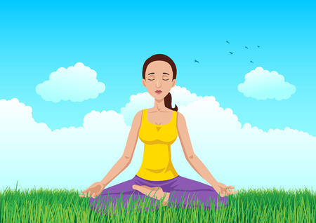 peace of mind: Cartoon illustration of a woman meditating on grass field Illustration