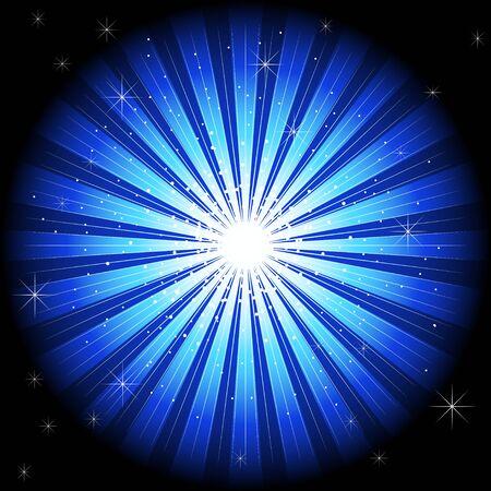 Illustration of blue light burst for background template