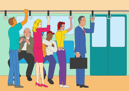commuter: Naive art or cartoon illustration of people standing and sitting in the train, commuter line theme Illustration