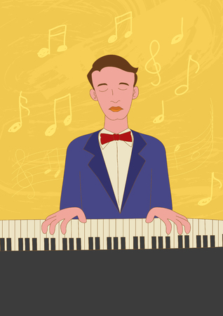 melodic: Naive art illustration of a pianist
