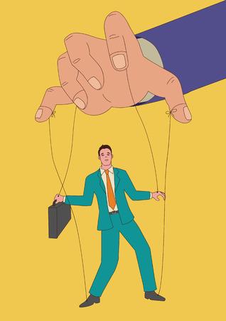 Naïeve kunst of cartoon illustratie van poppenspeler besturen van een zakenman, controle, business concept