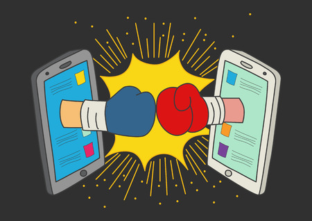 Naive art or cartoon illustration of clashed two boxing gloves coming out from smart phone monitors, concept for social media fight 일러스트