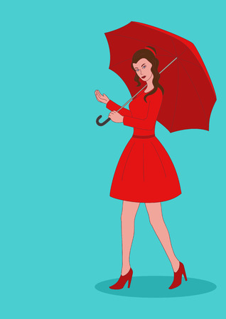 naive: Naive art of a pretty girl in red dress with umbrella