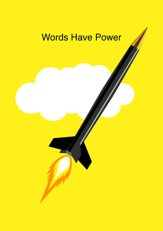 nuclear weapons: Graphic illustration of a pen in the form of a rocket for words have power concept