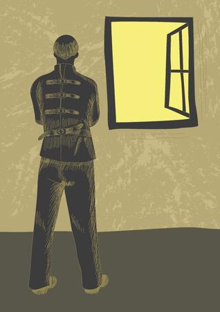 Retro art stijl illustratie van geesteszieke man met dwangbuis naar buiten door het raam