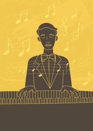 pianista: arte de la ilustraci�n retro de un pianista