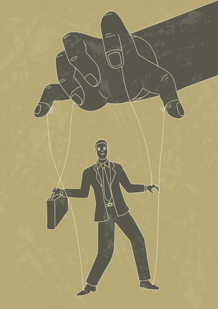 enslave: Retro art illustration of puppet master controlling a businessman, control, business concept