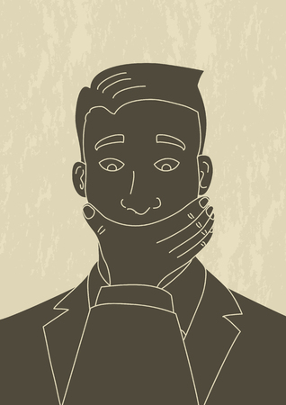guardar silencio: Illustration in retro art style of a man which his mouth being covered by other mans hand