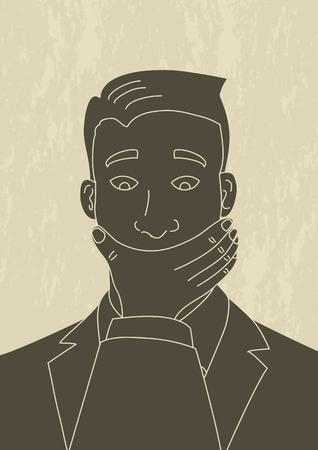 guardar silencio: Ilustración de estilo retro arte de un hombre, que su boca está cubierta por la mano de otro hombre Vectores
