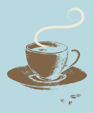 vintage sign: Retro art style illustration of cup of coffee
