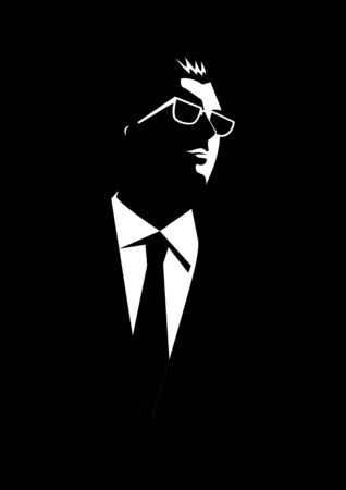 cool guy: Black and white illustration of a businessman with sunglasses on dark background