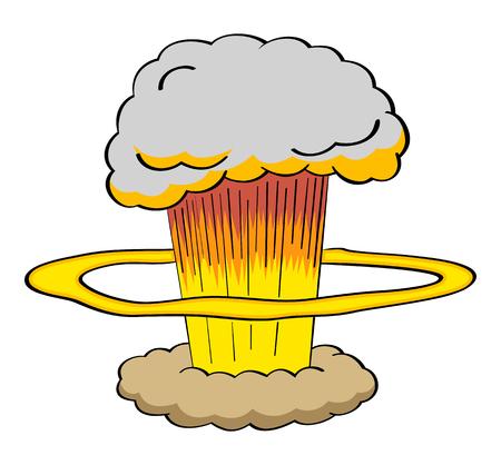 bombe atomique: Atomic explosion d'une bombe dans le style de bande dessinée illustration