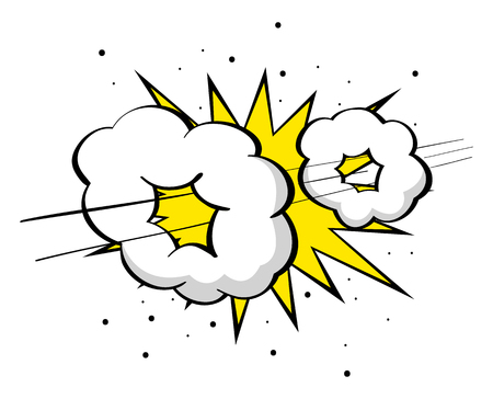 Cartoon illustration of supersonic boom, fast, speed comic effect