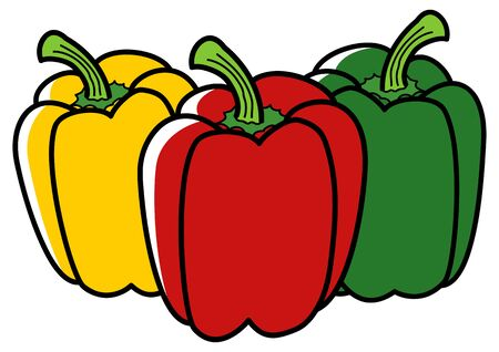 paprika: Graphic illustration of paprika in three different colors