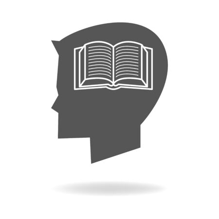 healthy kid: Children head silhouette with book icon, education, knowledge concept