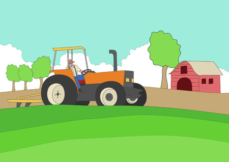 grass land: Cartoon illustration of a farmer driving a tractor Illustration