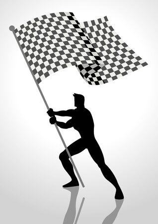 Silhouette illustration of a man holding the racing flag, flag bearer, winner concept