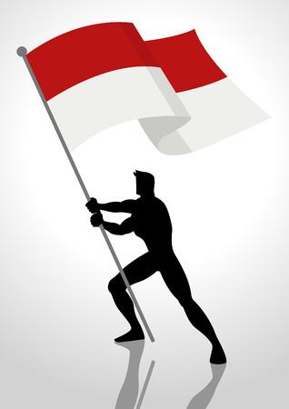 Ilustración de la silueta de un hombre con la bandera de Indonesia o Mónaco, portador de la bandera, el concepto de patriotismo