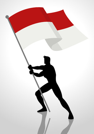 national hero: Silhouette illustration of a man holding the flag of Indonesia or Monaco, flag bearer, patriotism concept
