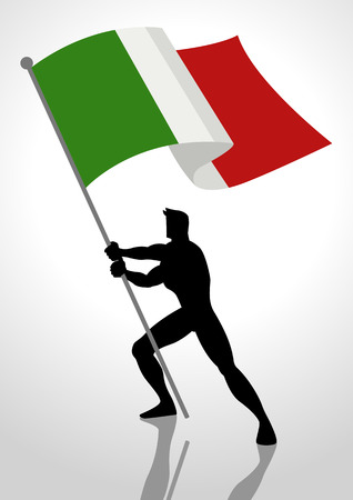 Silhouette illustration of a man holding the flag of Italy, flag bearer, patriotism concept