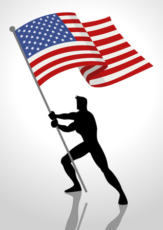 gallant: Silhouette illustration of a man holding the flag of The United States of America, flag bearer, patriotism concept