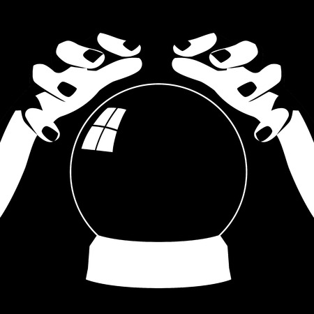 foresight: Black and white illustration of a fortune teller hands with crystal ball