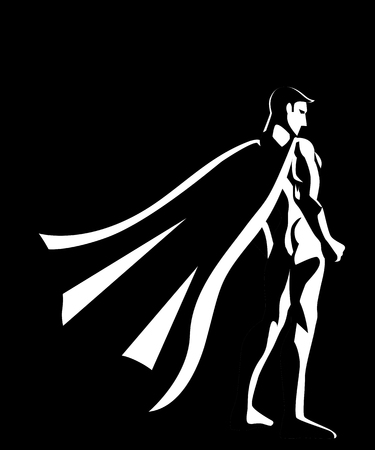 gallant: Black and white illustration of a superhero