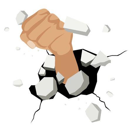 Ilustración de puño que se rompe la pared Ilustración de vector